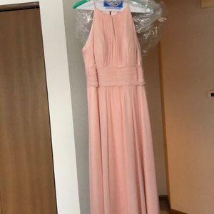 Pearl pink long bridesmaid dress
